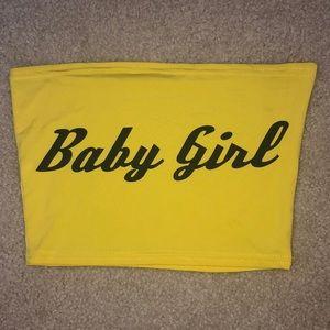 """""""baby girl"""" yellow tube top"""